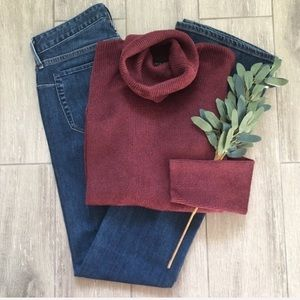 Ellen Tracy Turtleneck Chenille Burgundy Sweater